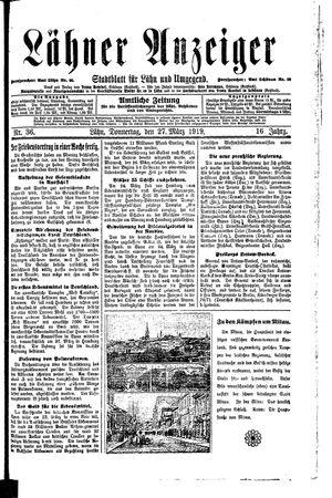 Lähner Anzeiger vom 27.03.1919