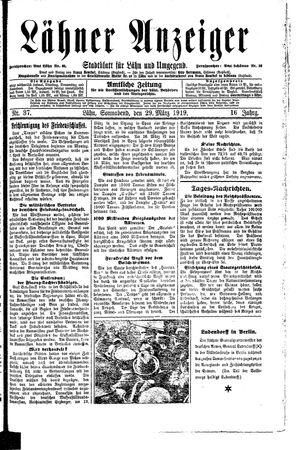 Lähner Anzeiger vom 29.03.1919