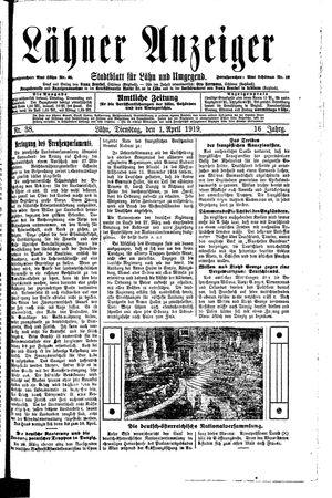 Lähner Anzeiger vom 01.04.1919