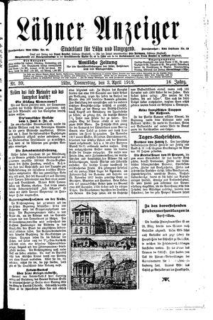 Lähner Anzeiger vom 03.04.1919