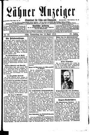 Lähner Anzeiger vom 10.04.1919