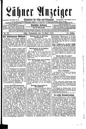 Lähner Anzeiger vom 12.04.1919