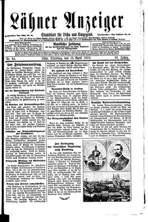 Lähner Anzeiger on Apr 15, 1919