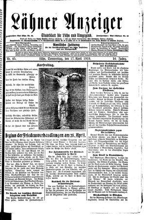Lähner Anzeiger on Apr 17, 1919