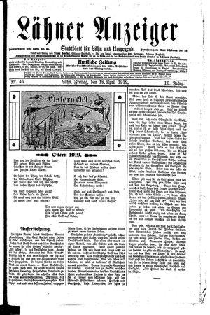 Lähner Anzeiger vom 18.04.1919
