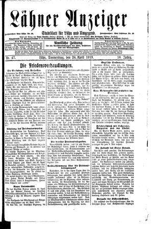 Lähner Anzeiger vom 24.04.1919