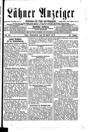 Lähner Anzeiger on Apr 26, 1919