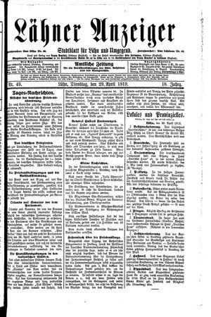Lähner Anzeiger vom 29.04.1919