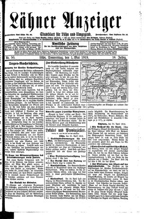 Lähner Anzeiger on May 1, 1919
