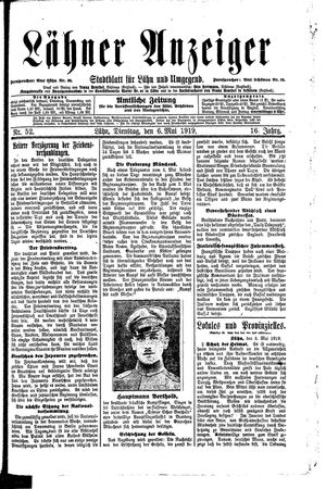 Lähner Anzeiger vom 06.05.1919