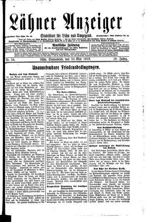 Lähner Anzeiger vom 10.05.1919