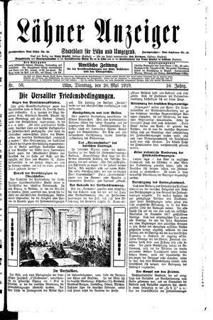 Lähner Anzeiger vom 20.05.1919