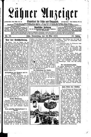 Lähner Anzeiger vom 22.05.1919