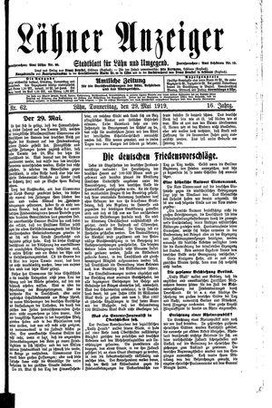 Lähner Anzeiger vom 29.05.1919
