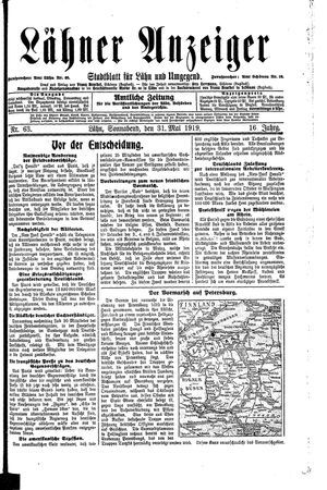 Lähner Anzeiger vom 31.05.1919