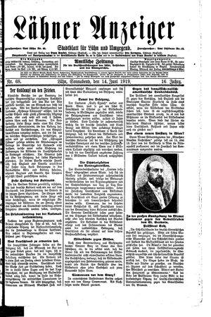 Lähner Anzeiger vom 14.06.1919