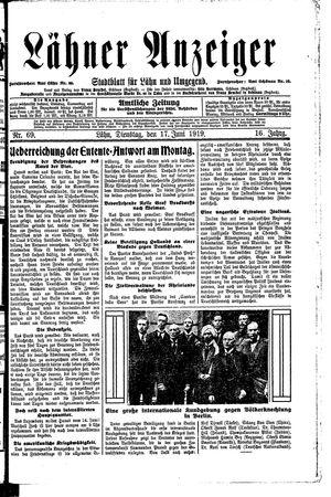 Lähner Anzeiger vom 17.06.1919