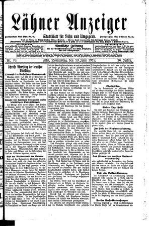 Lähner Anzeiger vom 19.06.1919