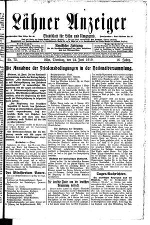 Lähner Anzeiger vom 24.06.1919