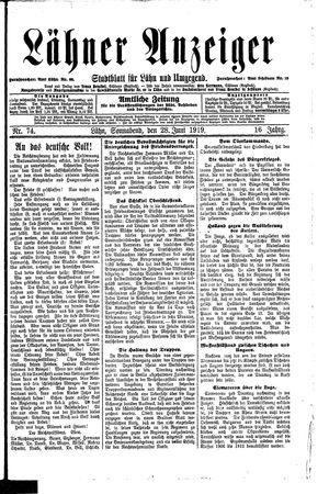 Lähner Anzeiger vom 28.06.1919