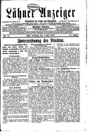 Lähner Anzeiger vom 01.07.1919