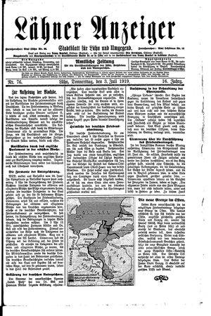 Lähner Anzeiger vom 03.07.1919