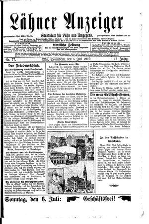Lähner Anzeiger vom 05.07.1919