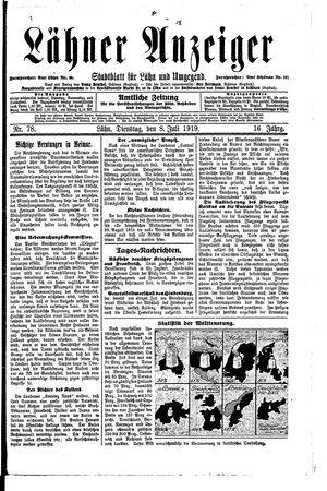 Lähner Anzeiger vom 08.07.1919
