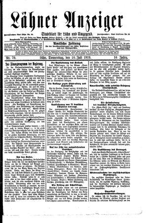 Lähner Anzeiger vom 10.07.1919