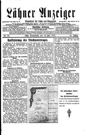 Lähner Anzeiger vom 12.07.1919