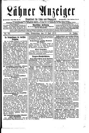 Lähner Anzeiger vom 17.07.1919
