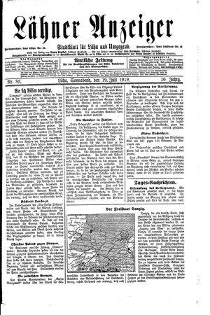 Lähner Anzeiger vom 19.07.1919
