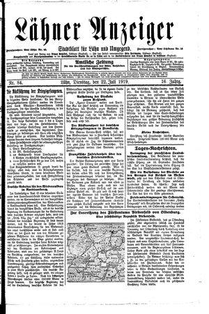 Lähner Anzeiger vom 22.07.1919