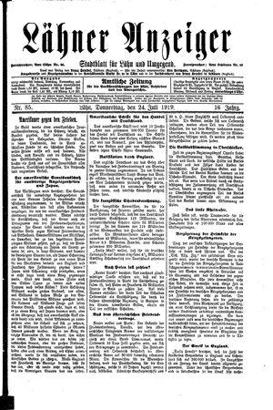 Lähner Anzeiger vom 24.07.1919