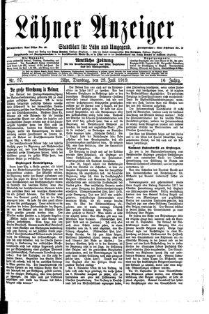 Lähner Anzeiger vom 29.07.1919