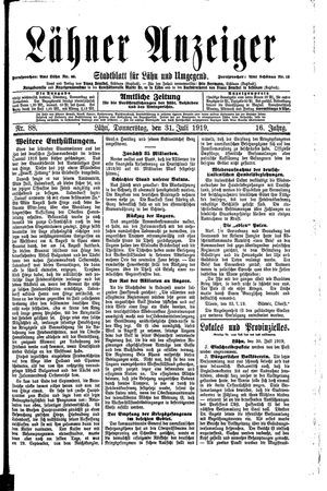 Lähner Anzeiger vom 31.07.1919