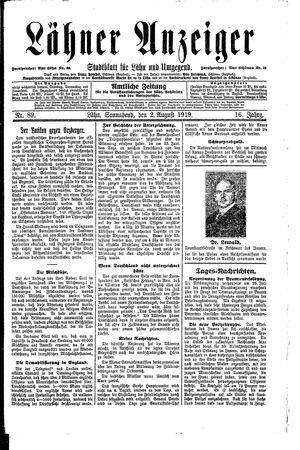 Lähner Anzeiger vom 02.08.1919