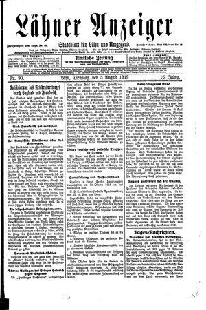 Lähner Anzeiger vom 05.08.1919