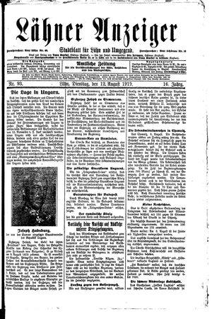 Lähner Anzeiger vom 12.08.1919
