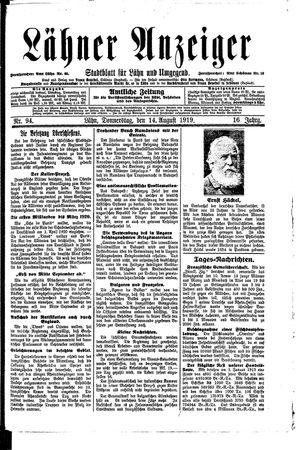 Lähner Anzeiger vom 14.08.1919