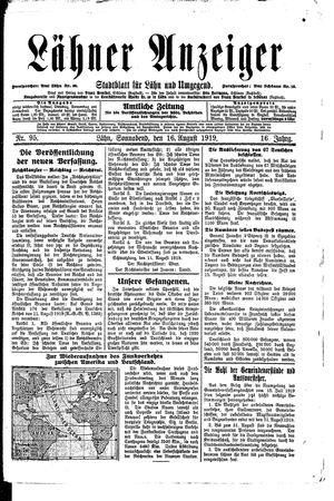 Lähner Anzeiger vom 16.08.1919