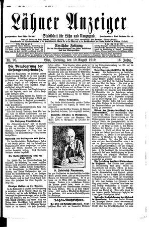 Lähner Anzeiger vom 19.08.1919