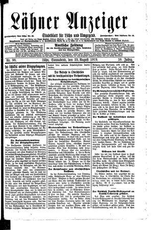 Lähner Anzeiger vom 23.08.1919