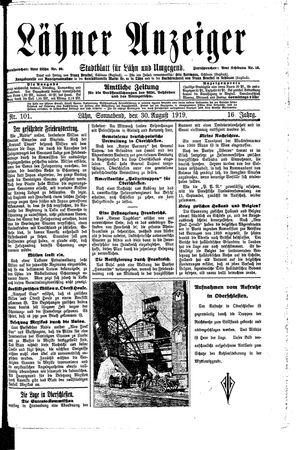 Lähner Anzeiger vom 30.08.1919