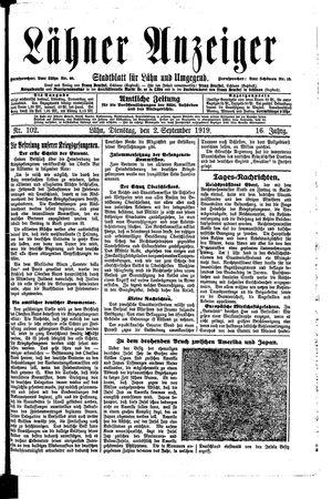 Lähner Anzeiger vom 02.09.1919