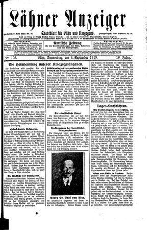 Lähner Anzeiger vom 04.09.1919