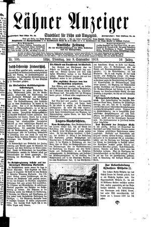 Lähner Anzeiger vom 09.09.1919