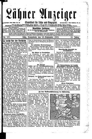 Lähner Anzeiger vom 13.09.1919