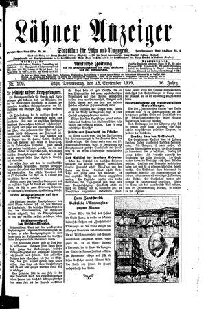 Lähner Anzeiger vom 18.09.1919