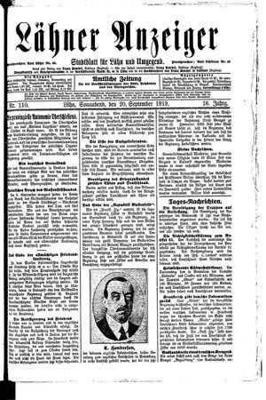 Lähner Anzeiger vom 20.09.1919
